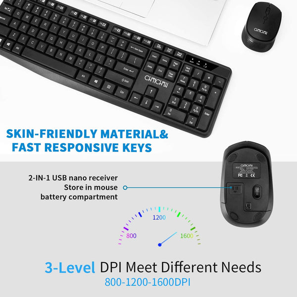 CHONCHOW Wireless Keyboard and Mouse Combo, 2.4GHz USB Wireless Computer Keyboard 3 Level DPI Wireless Mouse for PC Laptop Mac - MASS Wholesalers