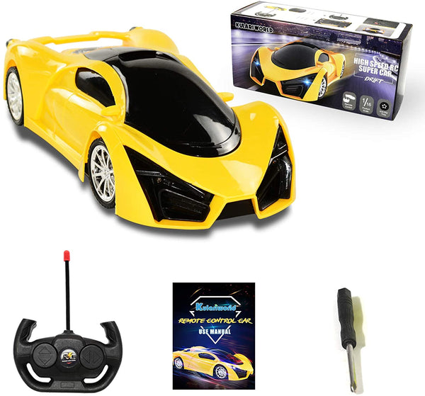 KULARIWORLD Remote Control Car, Drift RC Cars Toys for Kids,1/16 Scale 10KMH High Speed Super Vehicle with Led Headlight,Yellow Racing Hobby Best Xmas Birthday Gift for Boys Girls - MASS Wholesalers