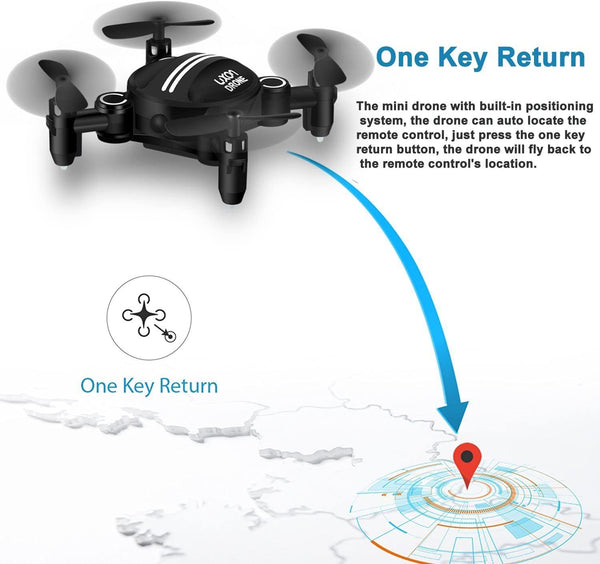 Drone RC Mini Drones for Kids Headless Quadcopter Drone with Foldable Remote Control Helicopter 2.4GHz 6-Axis One Key Return Small Airplane for Indoor Outdoor Flying (Black) - MASS Wholesalers