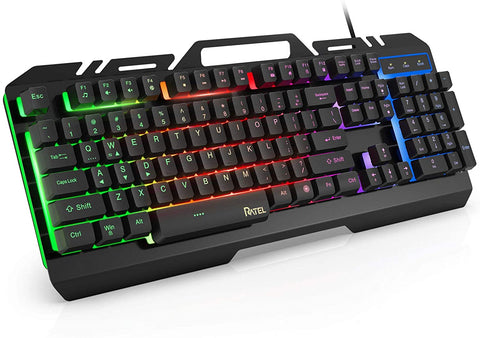 Gaming Keyboard, RATEL All-Metal Panel with Mechanical Feeling Colorful Rainbow LED Backlit USB Computer Wired Keyboard for PC/MAC/Desktop Pro Gamer (Black & Rainbow LED Backlit) - MASS Wholesalers