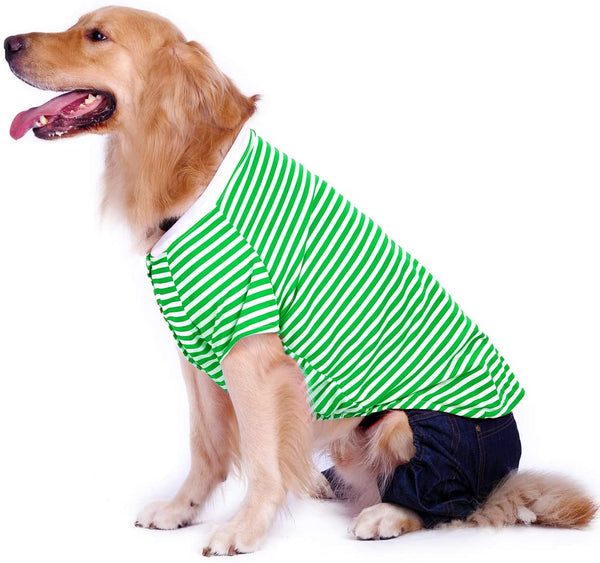 Petroom Large Dog Striped  Cotton T Shirt, - MASS Wholesalers