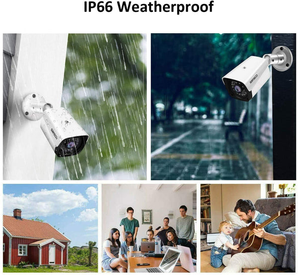 SANSCO 1080P Home Security Camera, 1920x1080p Outdoor IP66 Weatherproof Surveillance Bullet Camera, IR Night Vision, 2.0 Megapixel CCTV AHD Camera, Add-on Camera, for 1080P AHD DVR Recorder, White - MASS Wholesalers