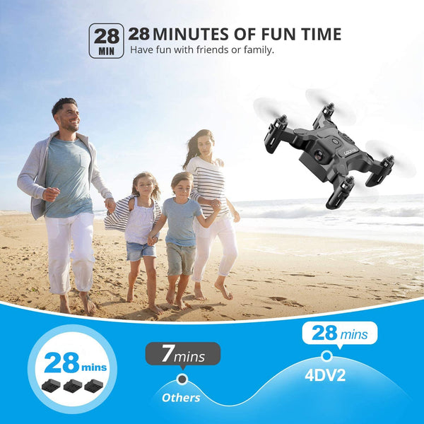 4DRC V2 Foldable Mini Drone for Kids Beginners,RC Nano Quadcopter Pocket Drone for Kids Gift Toys ,With Altitude Hold, Headless Mode, 3D Flips, One Key Return and Speed Adjustment and 3 Batteries - MASS Wholesalers