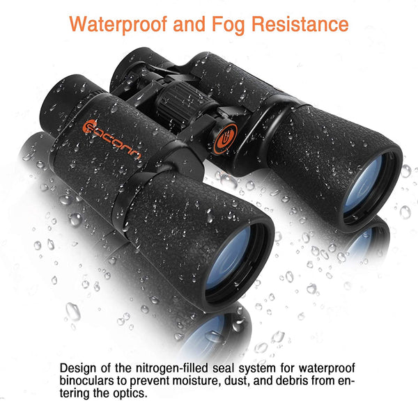 Binoculars for Adults, 10x50 Compact Binoculars for Bird Watching with FMC BAK-4 Porro Prism Lens, Easy to Focus Waterproof Binoculars for Hunting, Hiking, Travel, Wildlife Watching,and Outdoor Sports - MASS Wholesalers