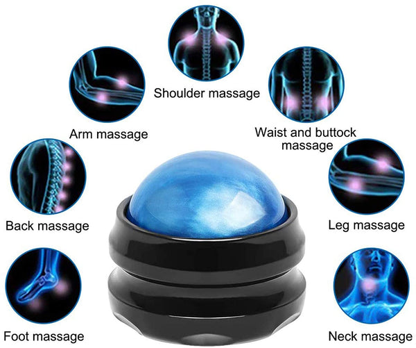Massage Ball, WOVTE Manual Roller Massager, Self Massage Tool for Sore Muscles, Shoulders, Neck, Back, Foot, Body, Deep Tissue, Trigger Point, Muscle Knots, Yoga and Myofascial Release (Blue) - MASS Wholesalers