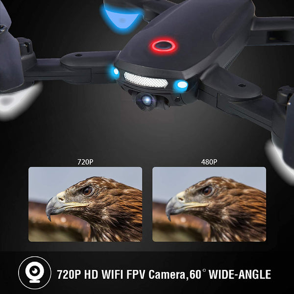 Twister.CK R10 Foldable Drone with Camera 720P HD for Adults, RC Quadcopter Drone WiFi FPV Live Video, Altitude Hold, Headless Mode, Gesture Control for Kids or Beginners with 2 Batteries 40mins - MASS Wholesalers