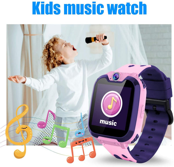 Themoemoe Kids Smartwatch Phone, Kids Music Watch Without GPS with Camera Music 7 Games Alarm Birthday Gift for Kids 3-14 Year Old (Pink) - MASS Wholesalers