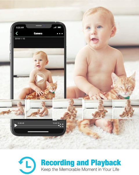 Baby Monitor, Conico 1080P HD Wireless Camera Pet Cam with Sound Motion Detection, Home Wireless Security Camera with 2- Way Audio, Night Vision Cloud WiFi Camera for Baby, Pet, Elder, 2.4G WiFi - MASS Wholesalers