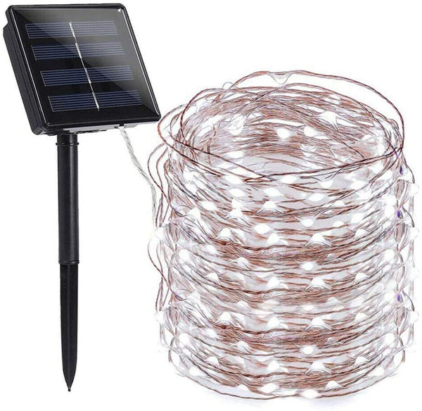 Solar String Lights, 66ft 8 Modes Copper Wire Lights, 200 LED Solar Fairy Lights, Indoor Outdoor Waterproof Decoration Lights for Garden, Patio, Lawn, Yard, Home, Party, Wedding, Christmas (White) - MASS Wholesalers