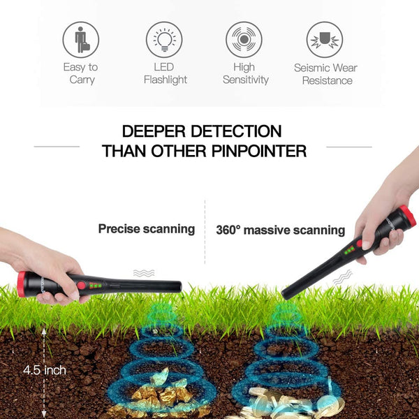 Avid Power Metal Detector Pinpointer Handheld with LED Range Indicators & Buzzer Vibration, Flash Light, Belt Holster, Shovel and 9V Battery for Adults and Kids - MASS Wholesalers