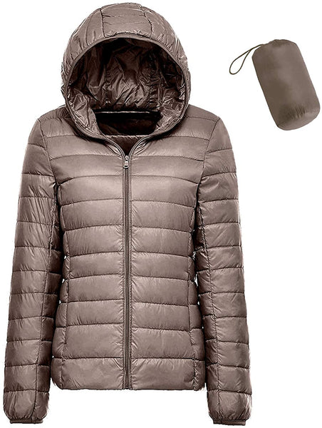 sunseen Women's Packable Down Coat Lightweight Plus Size Puffer Jacket Hooded Slim Warm Outdoor Sports Travel Parka Outerwear - MASS Wholesalers
