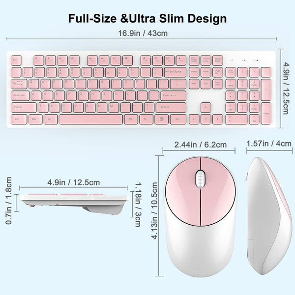 Wireless Keyboard and Mouse, WisFox Full-Size Wireless Mouse and Keyboard Combo, 2.4GHz Silent USB Wireless Keyboard Mouse Combo for PC Desktops Computer, Laptops, Windows - MASS Wholesalers