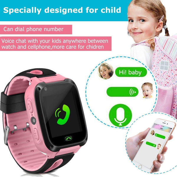 Kids Smart Watch Phone smartwatches for Children with GPS Tracker sim Card Anti-Lost sos Call Boys and Girls Birthday Compatible Android iOS Touch Screen Voice Chat Remote Camera - MASS Wholesalers