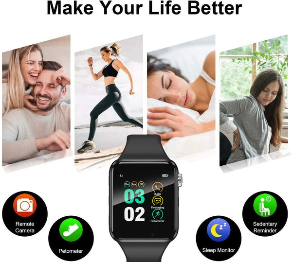 Smart Watch for Android Phones iPhone Compatible for Men Women - Aeifond Bluetooth Touch Screen Smartwatch Fitness Tracker with Camera Step Calorie Counter Sleep Monitor SIM SD Card Slot (Grey) - MASS Wholesalers