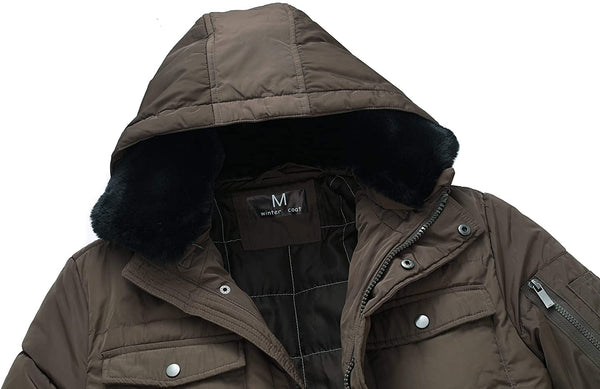 Lisskolo Men's Winter Coat Thicken Hooded Parka Jacket with Removable Fur,Multiple Pockets - MASS Wholesalers