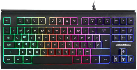 Rainbow LED Backlit 87 Keys Gaming Keyboard, Compact Keyboard with 12 Multimedia Shortcut Keys USB Wired Keyboard for PC Gamers Office - MASS Wholesalers