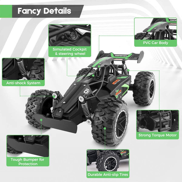 CEGOUFUN Remote Control Car High Speed RC Cars 1:18 Scale 2.4Ghz Off Road Buggy Racing Vehicle, Electric Drift Toy Trucks with Rechargeable Battery, Toys Gifts for Kids Boys Girls - MASS Wholesalers