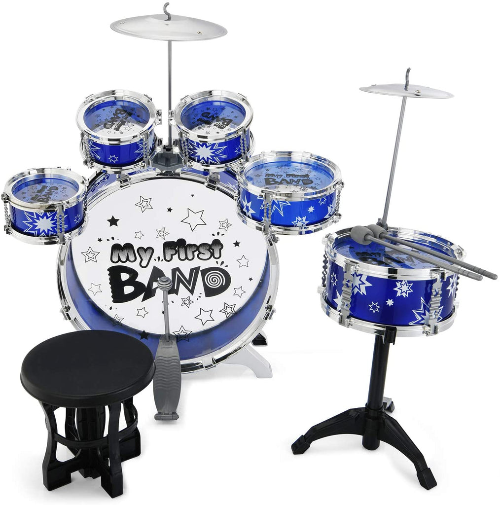 Reditmo Kids Jazz Drum Set, 6 Drums, 2 Cymbals, Chair, Kick Pedal, 2 Drumsticks, Stool, Early Education Musical Instrument to Develop Children's Creativity, Blue - MASS Wholesalers