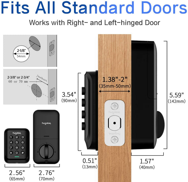Entry Door Locks with Keypads, Keyless Deadbolt Door Locks, Slim Electronic Deadbolt Lock, Auto-Lock, Easy to Install, Battery Backup, Lighted keypad, for Garage or Side Door, Matte Black - MASS Wholesalers