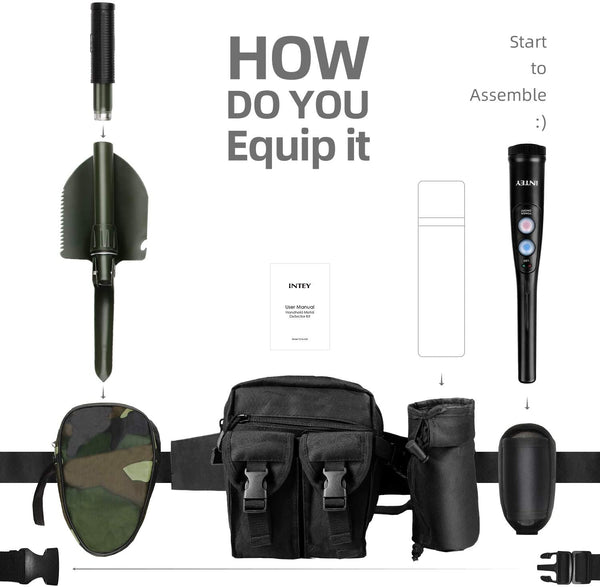 INTEY Customized Metal Detector Pinpointer Kit-360°Scanning,IP66 Water Resistant,3-LED Detection Display&Vibration Response-Handheld Metal Detector with 3 Accessories(Belt Holster,Waist Bag&Shovel) - MASS Wholesalers