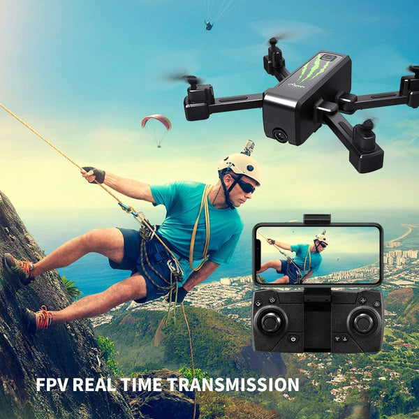 HR GPS Drone with 1080P HD Camera,Foldable Portable Quadcopter with Auto Return Home,Custom Flight Path,Follow Me,Long Control Range,Drones for Adults Kids and Beginners (GPS Drone) - MASS Wholesalers