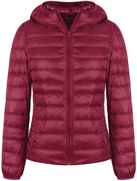Valennia Women's Short Down Jacket Ultra Light Weight Packable Down Coat with Hood and 2 Pockets - MASS Wholesalers