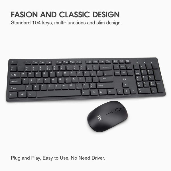 Wireless Keyboard and Mouse Combo - Rii Standard Office PC Keyboard and Optical Wireless Mice for Windows/Android TV Box/Raspberry Pi/PC/Laptop/PS3/4/ - MASS Wholesalers