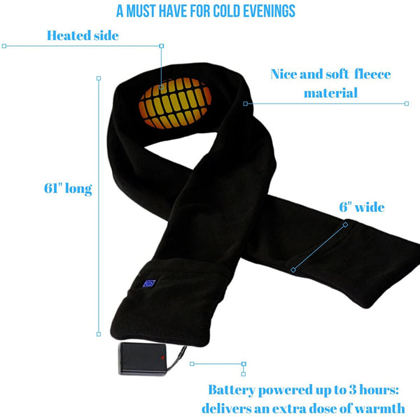 Heated Scarf with Neck Heating Pad - Black Electric Battery Powered Heated Neck Wrap for Men and Women as Warming Scarf with Pockets - MASS Wholesalers