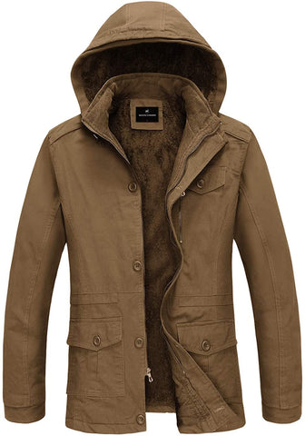 Men's Winter Thicken Coat Cotton Parka Jacket with Removable Hood Outwear Winter Stylish Jackets - MASS Wholesalers