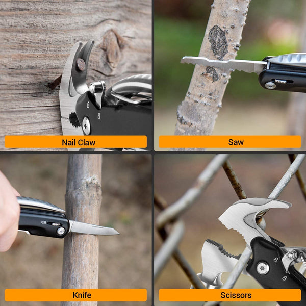 Multitool Hammer, Portable 12 in 1 Stainless Steel Multifunctional Multi Tool, Mini Tool with Knife Plier Screwdriver for Camping Hiking Outdoor Survival Gear Kit, Gift for Men Women - MASS Wholesalers