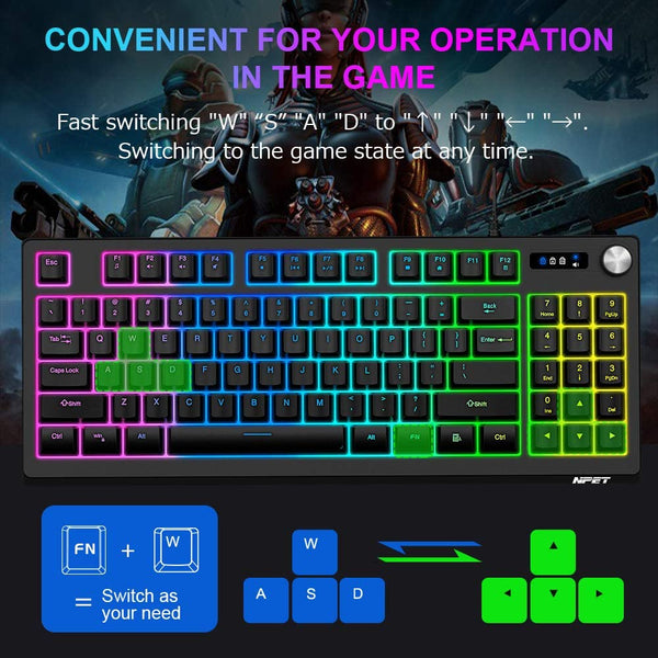 NPET K60 Compact Gaming Keyboard, 89 Keys RGB Backlit Computer Keyboard with Dedicated Volume Knob and Numeric Key, USB Wired Ultra-Portable Design Membrane Keyboard for PC/Laptop/Desktop/Computer - MASS Wholesalers