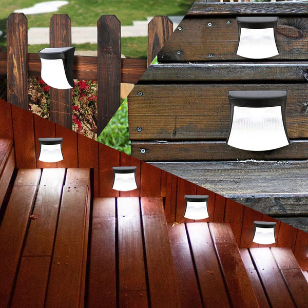 Solar Step Lights Outdoor Waterproof, Modern Design Wireless Deck Security LED Lights for Driveway Garden Wall Back Door Step Stair Fence Deck Yard Patio (White Light, 4 Pack) - MASS Wholesalers