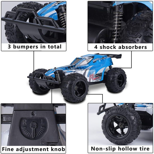 Remote Control Car for Boy Girl, 2.4GHz RC Cars for Kid with 2 Batteries, 1:22 Scale Racing Car Vehicle Toy Gift for Kids 4-12 Years Old Blue - MASS Wholesalers