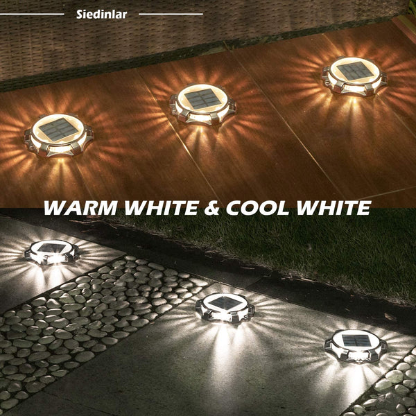Siedinlar Solar Deck Lights Outdoor Metal 2 Modes 12 LED Dock Driveway Light Cool White/Warm White Lighting for Step Ground Walkway Stair Pathway Yard Garden Road Markers (4 Pack) - MASS Wholesalers