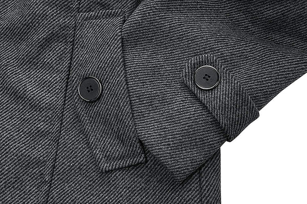 Wantdo Men's Wool Blend Jacket Stand Collar Windproof Pea Coat - MASS Wholesalers
