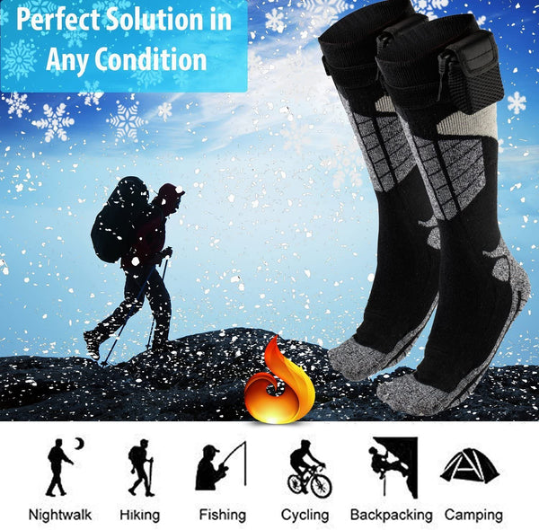 Heated Electric Warm Thermal Socks – Battery Operated Winter Foot Warmers For Adults Men & Women, Warming Socks Get Toes Warm In Cold Weather Outdoors Or Indoors - Patterns and Colors Will Vary - MASS Wholesalers