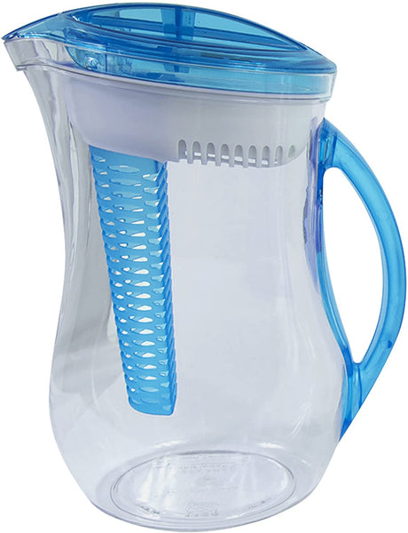 Cool Gear Water Filter Filtration Infuser Pitcher Plus Fruit Tea Flavor Infusion 2.44 LIter, Blue - MASS Wholesalers