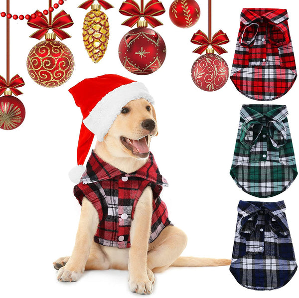 3 Piece British Style Cutoff Dog Apparel Plaid Shirt - MASS Wholesalers