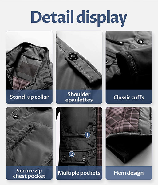 Men's Winter Warm Jacket Water Resistant Windbreak Thicken Cotton Work Coat Stand Collar Outerwear - MASS Wholesalers