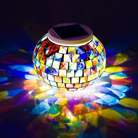 WSgift Color Changing Solar Powered Glass Mosaic Ball Led Garden Lights, Rechargeable Solar Table Lights, Outdoor Waterproof Solar Night Lights Table Lamps for Decorations, Ideal Gifts - MASS Wholesalers