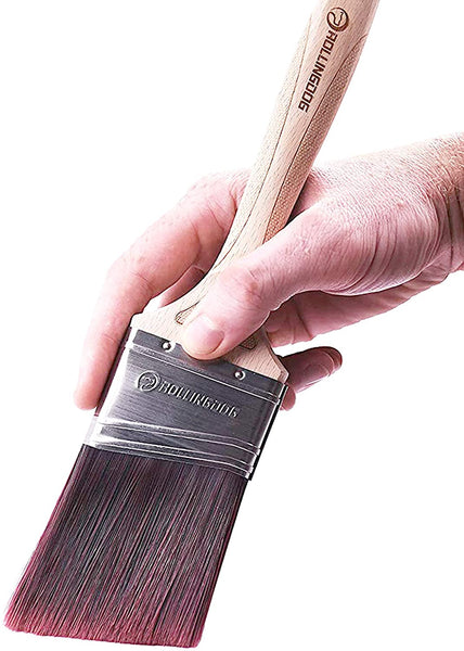 "ROLLINGDOG 4 in 1 Multifunctional Painter's Tool Paint Brush/Roller Cleaner and 2.5"" Angular Paint Brush with Laser Engraved Wooden Handle and No Loss Fine Synthetic Filaments - MASS Wholesalers"