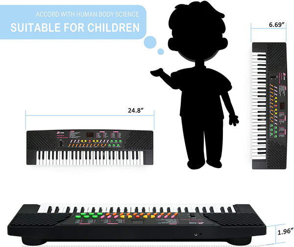 MagDurnus 54-Key Portable Electronic Keyboard with Microphone, Teaching Musical Instrument,Early Learning Educational Toy, Birthday Gift for Kids,Girls and Boys(Black) - MASS Wholesalers