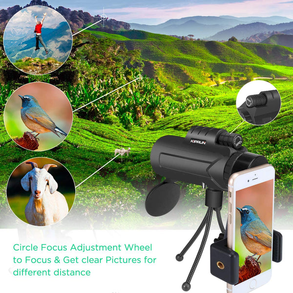 KIPRUN Monocular Telescope,12x50 High Powered Monocular Scope with Phone Adapter and Tripod, Waterproof BAK4 Prism FMC Lens.Single Hand Focus for Outdoor, Bird Watching, Hunting, Camping, Travel. - MASS Wholesalers