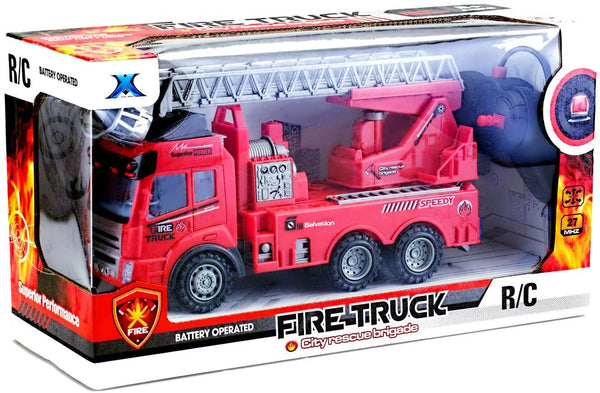 Toy Rc Rescue Fire Engine Truck Multi-Function Remote Control w/ Extending Ladder, by Bo Toys - MASS Wholesalers