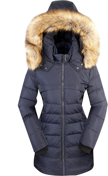 Old-to-new Women's Long Hooded Puffer Jacket Parka Down Coats Winter Jacket with Faux Fur - MASS Wholesalers