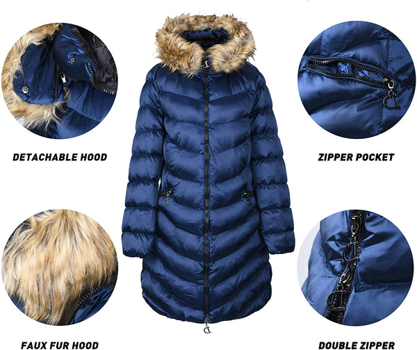 ELFJOY Women's Winter Coats with Removable Hood Windproof Long Puffer Jacket - MASS Wholesalers