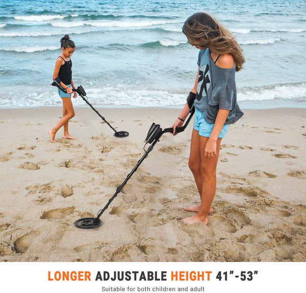 "Metal Detector, Upgraded Adjustable Waterproof Metal Finder (41""-53"") with Four Color Indicator Lights, DISC Mode, P/P Function and Audio Prompt for Adults - Carrying Bag and Batteries Included MMD05 - MASS Wholesalers"