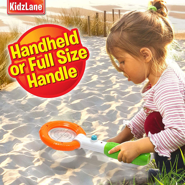 Kidzlane Kid's Metal Detector Wand (2-in-1) Handheld or Full-Size Handle | Junior Design with Lights and Sounds | Detects Metals, Jewelry, Coins | Beach, Outdoor Use Ages 3+ - MASS Wholesalers