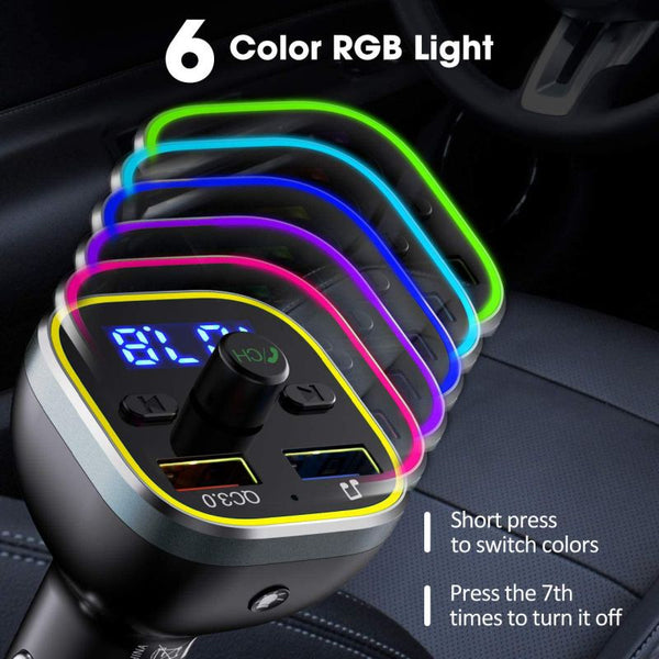 Car Bluetooth 5.0 FM Transmitter USB Charger With Colorful Light Car Radio Audio Adapter MP3 Player Hands Free QC3.0 Fast Charge - MASS Wholesalers