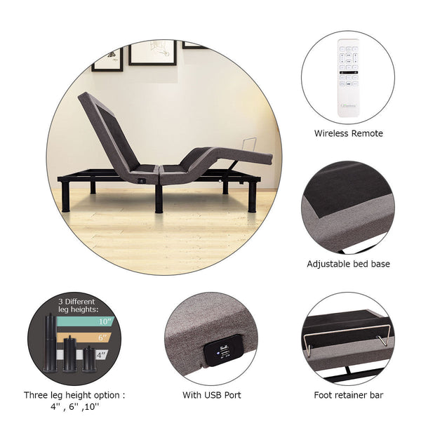 Queen Size Head Foot Dual Massaging Adjustable Bed Base Wireless Remote USB Ports - MASS Wholesalers